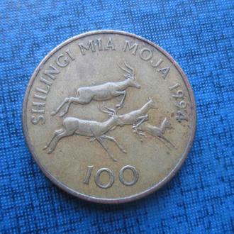 монета 100 шиллингов Танзания 1994 фауна антилопы