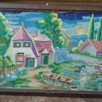Картина вышивка ручной работы Пейзаж, Солнечный день.