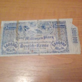 5 мільйонів марок-1923-Німеччина-НОТГЕЛД і землі -Ястров,Марк-Фрідланд,Шлопе,Тутц,Дойч Кроне