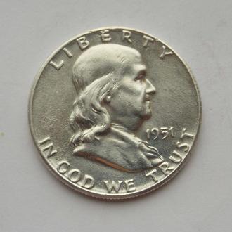 1/2 доллара Франклин 1951 года, США. Серебро, оригинал.