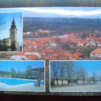 Венгрия.1988г. п.Богач. Панорама. Кочтовая карточка с оригинальной маркой.