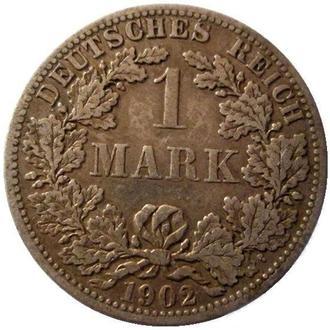 Германия 1 марка 1902 г. (F)  Серебро!!! Состояние!!! РЕДКАЯ!!!