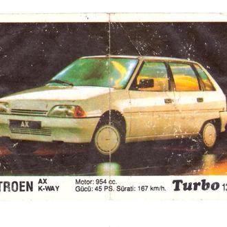 Вкладыш от жвачки Turbo (черная) №130 Citroen AX K-WAY