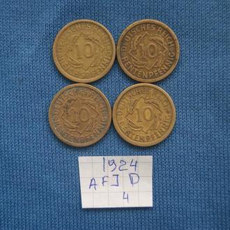 Германия погодовка 10 пфеннингов 1924 г  A F J D   № 4
