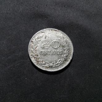 Колумбия 20 сентаво 1972 маленькие цифры даты