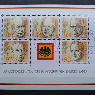 ФРГ.1982г. Политики. Президенты Германии. Почтовый блок.