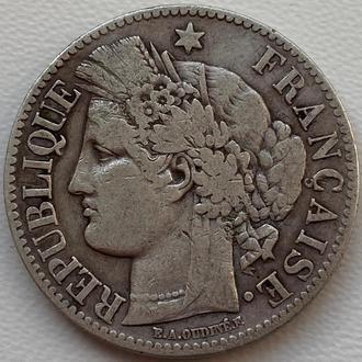 Франция 2 франка 1871 год СЕРЕБРО!!!! СОСТОЯНИЕ!!!!!!!!