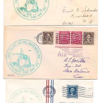 Авиация . USA / США 1932 г  - первый перелет - корпус Кристи - 3-и конверта - ПРИЛИЧНО !!!