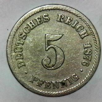 Германия 5 пфеннигов, 1876 F-Штутгарт