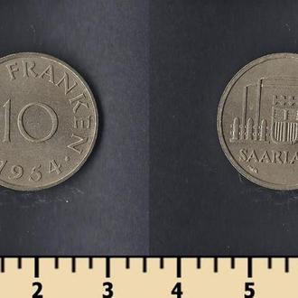 Саарланд 10 франков 1954