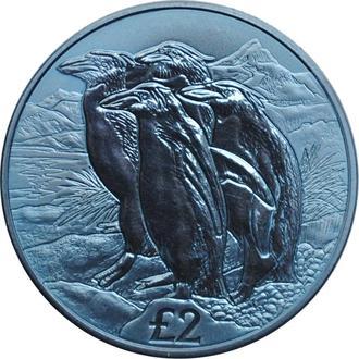 """Южная Георгия 2 фунта 2019 г., BU, """"Золотоволосые пингвины - Титановая монета"""""""
