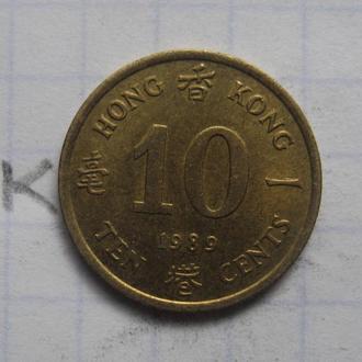 БРИТАНСКИЙ ГОНГ КОНГ, 10 центов 1989 года.