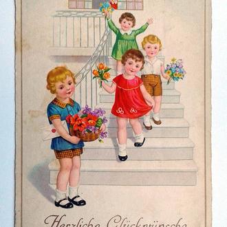 Открытка почтовая карточка С Днем рождения 1935 г. Fv8.2