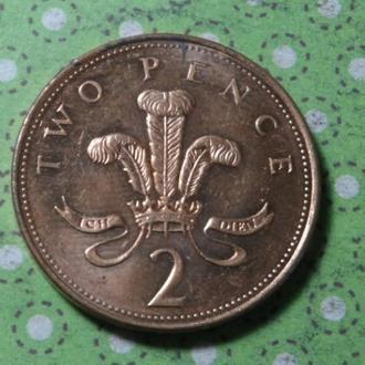 Великобритания 2007 год монета 2 пенса !