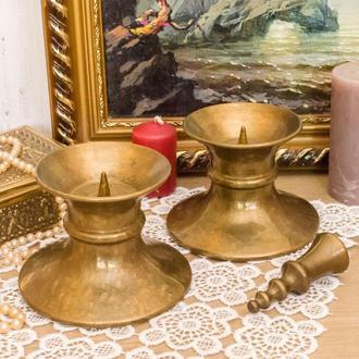 Два каминных подсвечника под пеньковую свечу, бронза, Германия 0039 пд