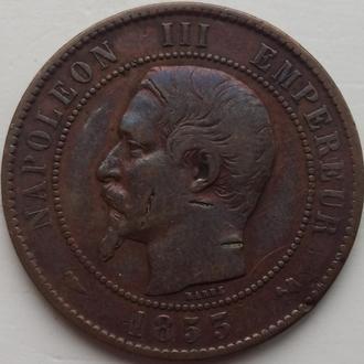 Франция 10 сантим 1853 г.