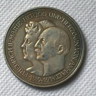 5 марок 1914 Германия Анхальт-Дессау Фридрих II Серебряный юбилей свадьбы