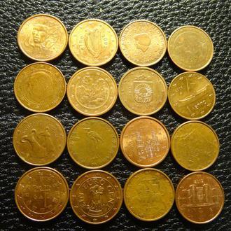 1 євроцент різних країн Євросоюзу (комплект), 16шт, всі різні
