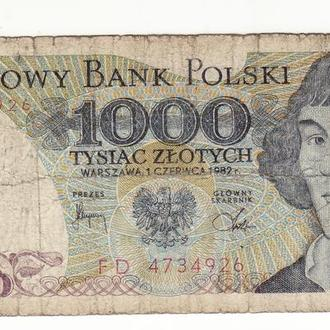 Польша 1000 злотых 1982 FD
