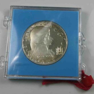 Чехословакия 100 крон 1991 г., PROOF, '200 лет со дня смерти Вольфганга Моцарта'