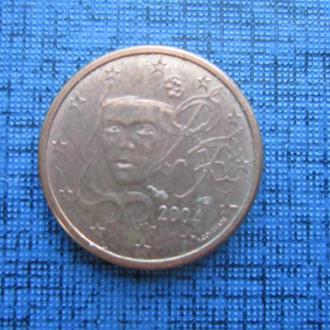 Монета 1 евроцент Франция 2004