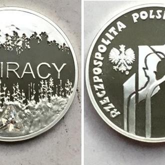 Польша 10 злотых, 2008г. Сибирские ссыльные. серебро с кристалом / в капсуле