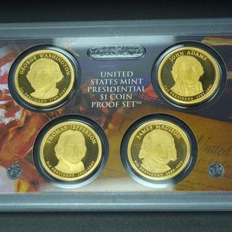 """Подарочный набор из 4-х монет 1 доллар США """"Президенты"""" пруф, в пластиковом холдере с сертификатом."""