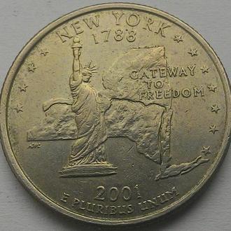 США 25 центов 2001 Нью Йорк D