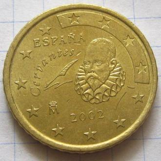 Испания_ 50 евро центов 2002 года оригинал