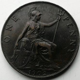Англия 1 пенни 1902 год ОТЛИЧНЫЙ СОХРАН!!!