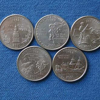 США полная подборка набор 25 центов квотер 2000 г  Р  5 шт