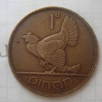 ИРЛАНДИЯ, 1 пенни 1937 года (КУРИЦА С ЦЫПЛЯТАМИ).