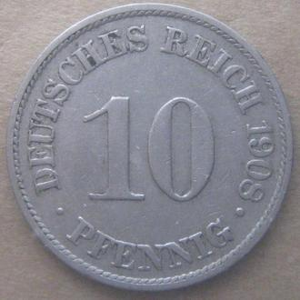 Германия 10 пфеннигов 1908 год (A)