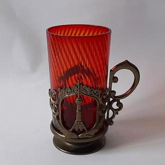Подстаканник СССР Москва - Останкино, с родным, оригинальным красным стаканом,