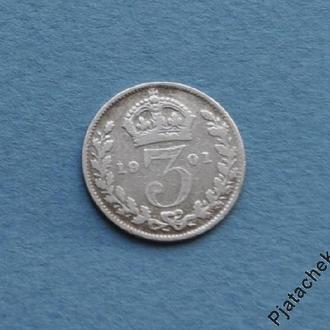 3 пенса 1901 г. Виктория №2