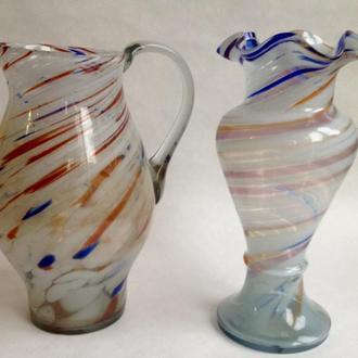 Кувшин и ваза для цветов. Цветное стекло.  Ваза для цветов.
