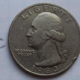 США, 25 центов 1983 года.
