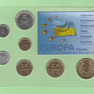 Набор Украина в т.ч. 25 и 50 копеек 2001 г набір Україна блистер запайка пластик R