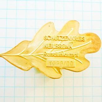 №167 Значок золотой дубовый лист победителю соревнований стрелков HEILBRONN Германия 1999 / 00 №2