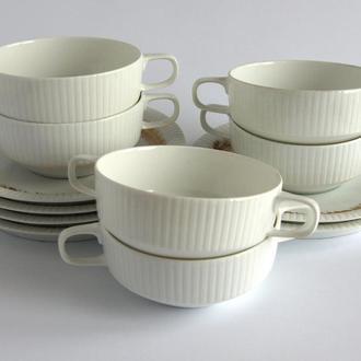 Суповые чашки набор Secunda на 6 персон, фарфор, Rosenthal, Германия