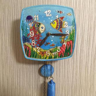 Часы механические настенные ходики Рыбки Водный мир Авторская роспись