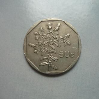 Мальта 50 центов 1998 флора