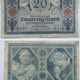 ГЕРМАНИЯ 20 МАРОК 1915