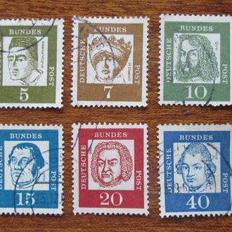 ФРГ.1961г. Стандартные марки. Подборка.