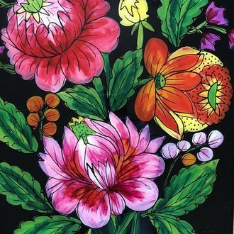 картина стекло цветы (№995)