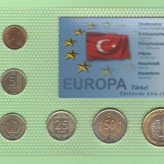 Набор монет ТУРЦИЯ 2009 год блистер запайка пластик