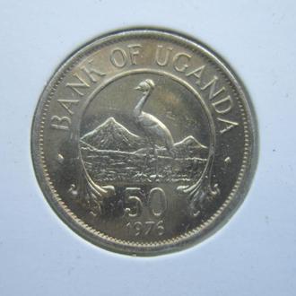 монета 50 центов Уганда 1976 фауна птица UNC