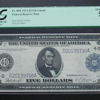 USA США 5 долларов 1914 UNC large size banknote