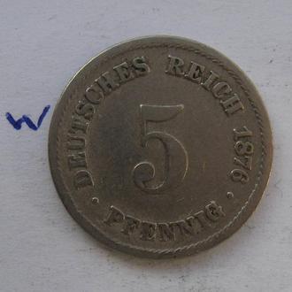 ГЕРМАНИЯ. 5 пфеннигов 1876 года.