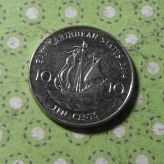 Карибские острова 2004 год монета 10 центов Карибы парусник !